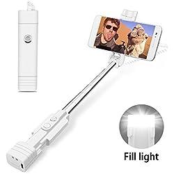 atongm Perche Selfie Mini Perche de Selfie,bâtons de Selfie de téléphone Portable avec la lumière de Remplissage de LED,bâton Extensible de Selfie pour Le téléphone Portable (iPhone, androïde) Blanc