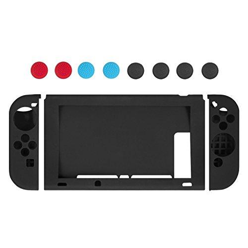 Younik Funda de silicona suave antiresbalante y cubiertas para palancas de control Joy-Con Nintendo Switch (negro)