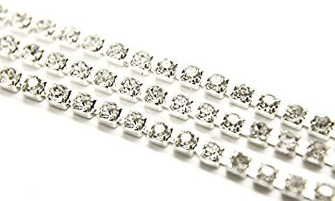 Grade A Long 4mm Strass Chaîne - 25 Mètre Transparent