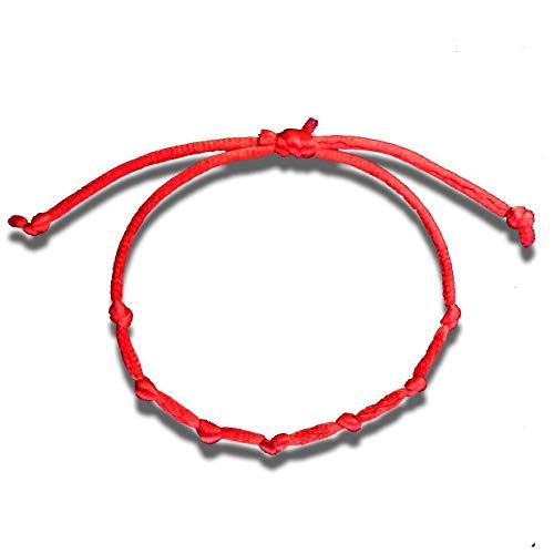 Huellas Pulsera cordon 7 Nudos roja Mal de Ojo Amuleto de la Suerte proteccion Kabbalah Ajustable