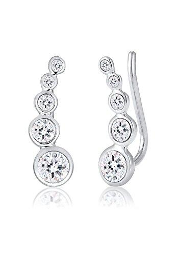 Elli Damen-Ohrstecker Earcuff 925 Silber weiß Brillantschliff Kristall - 0309230916