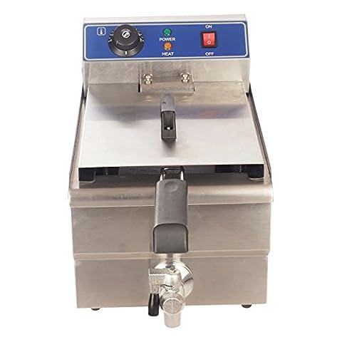 Friteuse 16 Liter mit Temperaturkontrolle in Edelstahl für Gastronomie und Imbiss