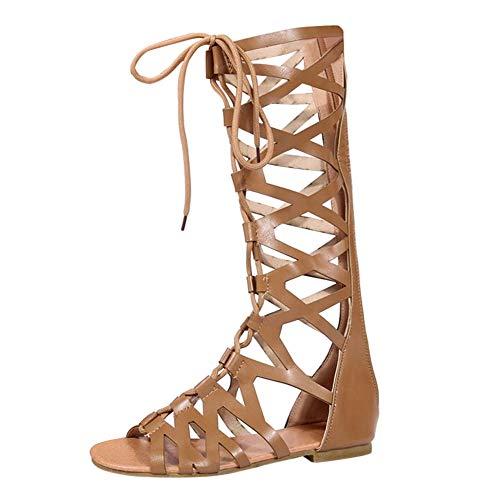 a61c8af0 uirend Zapatos Mujer Sandalias - Mujeres Gladiador Sandalias Romano Rodilla  Alto Cremallera Cordones Peep Toe Plano