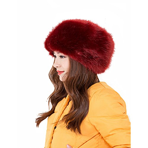 Ladies / Womens Faux Fox Fur Cossak Russian Style Winter Hat Wine Burgundy
