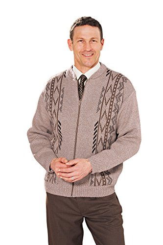Benbrook Vertical Jaquard Zip Up Cardigan Avec Poches Marron