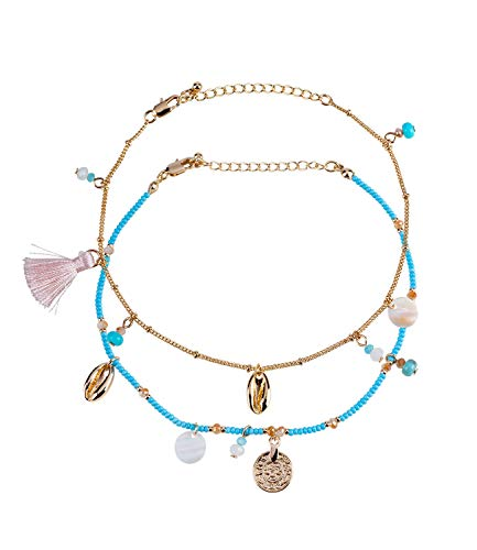 SIX Damen Fußkette, 2er Set mit türkisen Perlen, mit Anhängern in Form von tasseln, Bommeln, Strasssteinen, Muscheln (775-192)