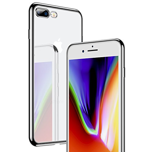 iPhone 7 Plus Hülle, iPhone 8 Plus Hülle, RANVOO Ultra Slim TPU Case Extra Dünn Transparent Durchsichtig Schutzhülle für Apple iPhone 7 Plus/8 Plus (13,9 cm 5,5 Plus Zoll),Rot Silber