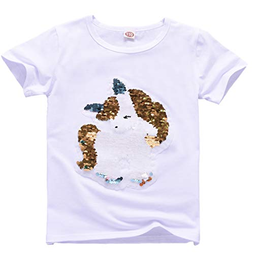 Unicornio Lentejuelas Algodón Camiseta Manga Corta Arriba Niña(3-8 años (4-5 años de Edad, B)