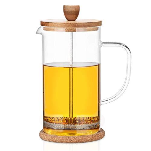 """Buntfink \""""FrenchPress\"""" Tee- und Kaffeebereiter mit Frech Press System, aus Edelstahl, Bambus und Borosilikatglas, für 1 Liter Tee/Kaffee, mit Löffel und 2 extra Filtern, Größe: 1l"""