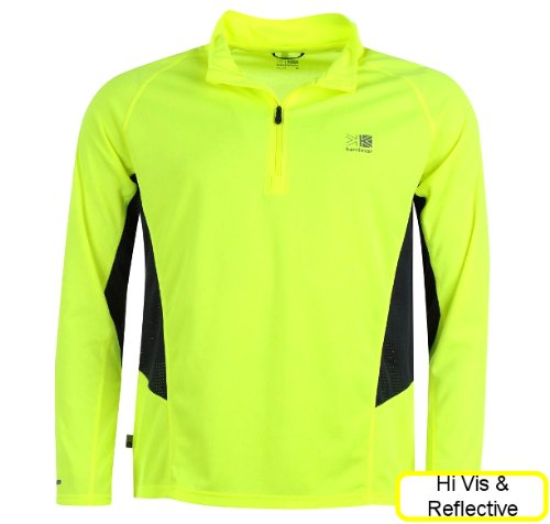 mens running top yellow hi viz and reflective long sleeve tshirt with quarter zip for autumn winter ventilation comfort. fluorescent yellow and reflective logo and trims on sleeves and rear. karrimor quality brand. medium weight. breathable mesh sides. stylish and packed with great features.