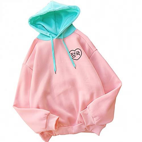 ZJSWCP Sweat-Shirt Hoodies Moleton Harajuku Lettres Coréennes Cœur Imprimé Femmes Automne Hiver Contraste Couleur Sweatshirts Mode,XL