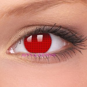 Lenti Contatti Colorate Fantasy Cosplay pazzesco Lens oil Mesh Rosso / rosso mesh 1 anno