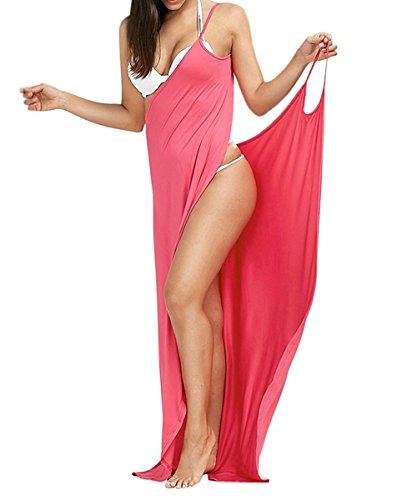 Minetom Femmes Été Sexy Robe Longue Amincissant Bustier Strap V Neck Épaules Nue Sans Manche Hem Split Maxi Dress de Plage Pink FR 36
