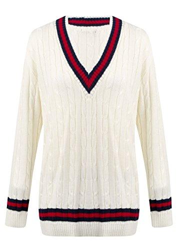Kabel-Ärmel Pullover (Damen Strickpullover, V-Ausschnitt, Zopfmuster, Cricket-Pullover für Damen, elastisch, Lange Ärmel, mit Zierstreifen Gr. One size, CREAM AND RED)
