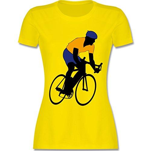 Radsport - Rennradfahrer - tailliertes Premium T-Shirt mit Rundhalsausschnitt für Damen Lemon Gelb