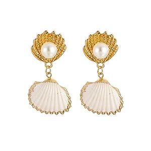 ZYUEER Frauen Arbeiten Strand Art Shell Perlen Legierungs Ohrring Schmucksachen Um