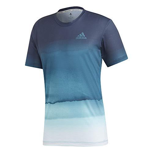 adidas Herren Parley Printed T-Shirt, White/Easy Blue, M (Adidas Tennis-shirt)
