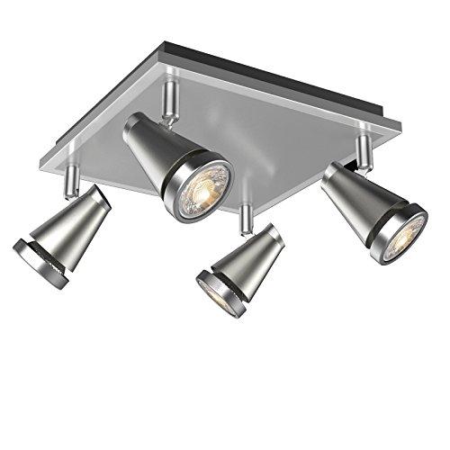 Ascher LED Deckenleuchte Schwenkbar ( Inkl. 4 x 5W GU10 COB LED Lampe, 450LM, Warmweiß), LED Deckenlampe LED Deckenstrahler LED Deckenspot