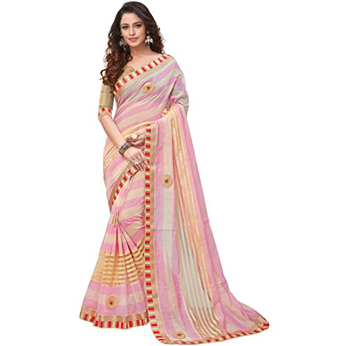 V.CLOTHY Cotton Silk Pink Zari Embroidered lace Border Patch Work Saree (V_PINK)  available at amazon for Rs.599
