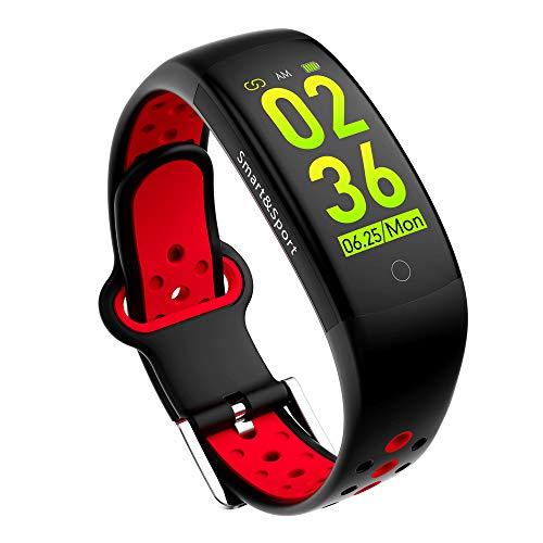 feifuns Fitness-Tracker HR, Aktivitätstracker Blutdruckmessgerät Bluetooth Smart-Armband Wasserdicht Fitness Uhr Bluetooth Schrittzähler Kalorienzähler iPhone Android, Damen, Q6S, Schwarz
