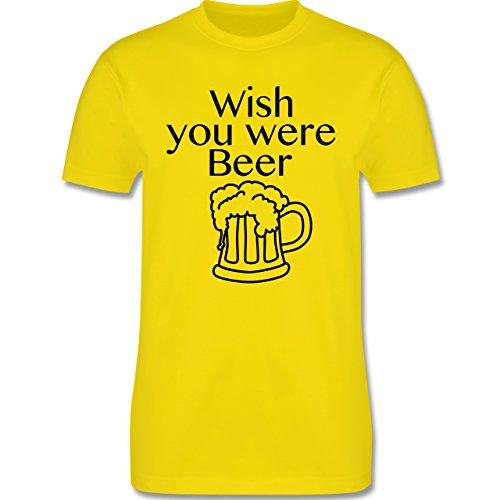 Oktoberfest Herren - Wish you were Beer Bierkrug - Herren Premium T-Shirt Lemon Gelb