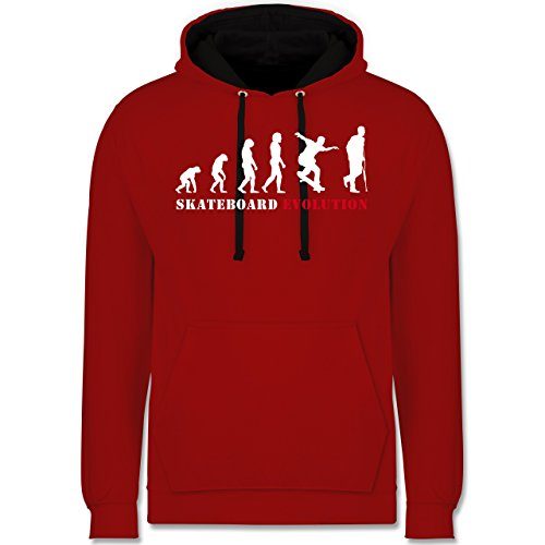 Evolution - Skateboard Evolution - Kontrast Hoodie Rot/Schwarz