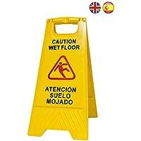 """Señal aviso""""Atención suelo mojado - Caution wet floor"""". En español e inglés. Alta visibilidad para evitar accidentes"""