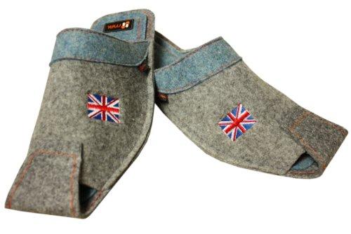 Herren Hausschuhe Vereinigtes Koenigreich Flagge Wolle in Grau mit Blau Grau mit Blau