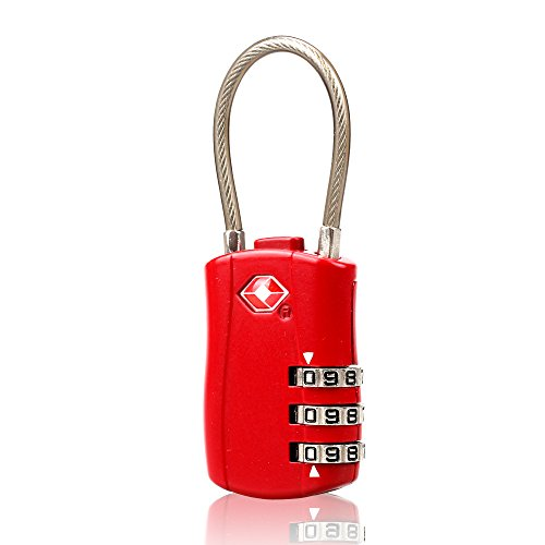 Luckstar Zahlenschloss-4-stellige Travel Vorhängeschlösser TSA (Stahl Draht + Legierung) Password Lock für Gepäck/Koffer/Gepäck Toolbox/Zaun/Überfalle Schrank/Aufbewahrung - 4 0 Aluminium-draht