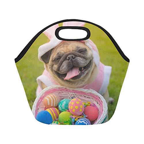 Trägt Kostüm Mops Ein - Isolierte Neopren-Lunchpaket Fawn-Mops-Hund, der Kaninchen-Kostüm-große wiederverwendbare thermische starke Mittagessen-Tragetaschen für Mittagessen-Kästen für im Freien, Arbeit, Büro, Schule trägt