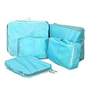 House of Quirk Storage Bag Organizers, Blue - (Set of 5)