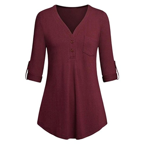 Lucky mall Frauen Split V-Neck 3/4 Blusen, Roll-up Sleeve Button Freizeithemden