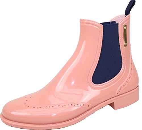 BOCKSTIEGEL® CHELSEA Damen - Modische Gummihalbstiefel | Chelsea Stiefel | Wasserdicht | Stylisch | Exklusives Design Salmon / DK - Blue fjApq