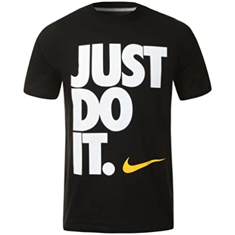 NIKE Just Do It - Camiseta de Ajuste Estrecho Unisex - Negro, M