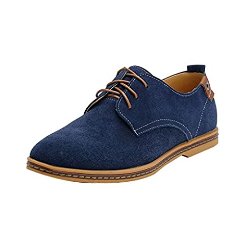 4How Men's Suede Casual Oxford Shoes Dark Blue UK 9 M
