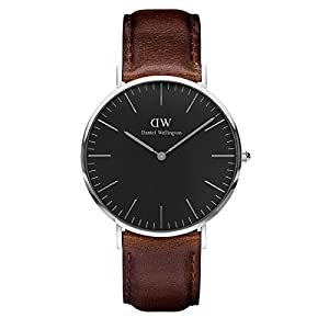 Daniel Wellington Classic Bristol Reloj Marrón Oscuro Plata 40 mm Cuero