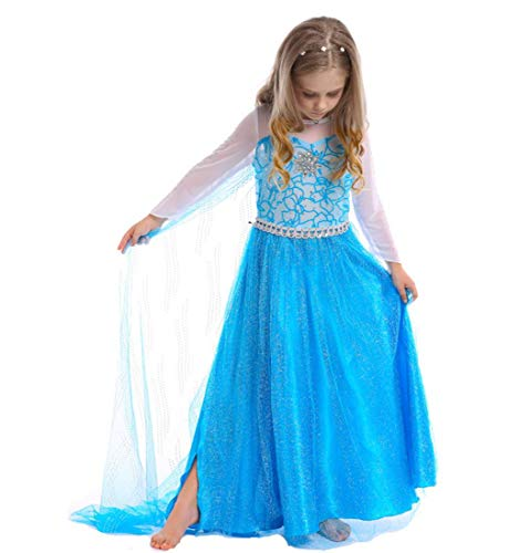 SAMGU Mädchen Party Kleid Kostüm Prinzessin Cosplay Dress Up, Blau, 7-8 Jahre ()