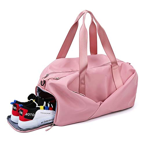LXFENG Sport-Sporttasche Mit Schuhfach Und Nasser Tasche, Reisetasche Duffles-Taschen Overnight Weekend Weekender-Tasche Für Männer Und Frauen (Farbe : Rosa)