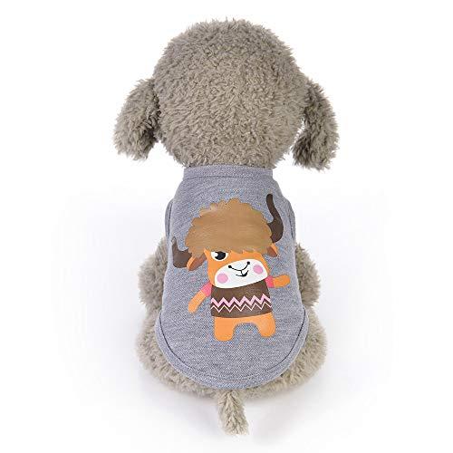 Haustier Weste,Tier-Karikatur gedruckte Weste-Hundewelpen-Kostüme-Haustier-Kleidung,Mode Sommer niedlichen Hund Haustier Weste Welpen gedruckt Baumwoll T-Shirt,Perfekt Zum Wandern,Joggen (F, XS) -
