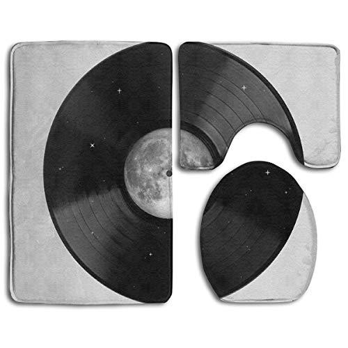 Song Salbei (HTHYTJC Moon Song Toilet Carpet,Fashion Bathroom Rug Mats Set 3 Piece Anti-Skid Pads Bath Mat + Contour + Toilet Lid Cover)