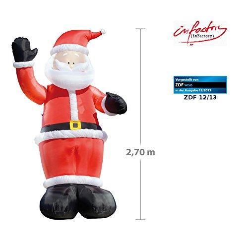 infactory Aufblasbarer Nikolaus: Winkender Leucht-Weihnachtsmann, aufblasbar, 270 cm (Aufblasbare Weihnachtsdeko aussen)