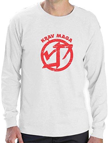 Krav Maga - Geschenk im coolen Design Langarm T-Shirt Weiß