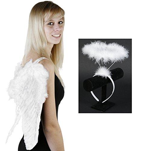 SET WEIß Heiligenschein + Engelsflügel 60x50cm + Haarreif Engel Kostüm (Teufel Oder Kostüme Engel)