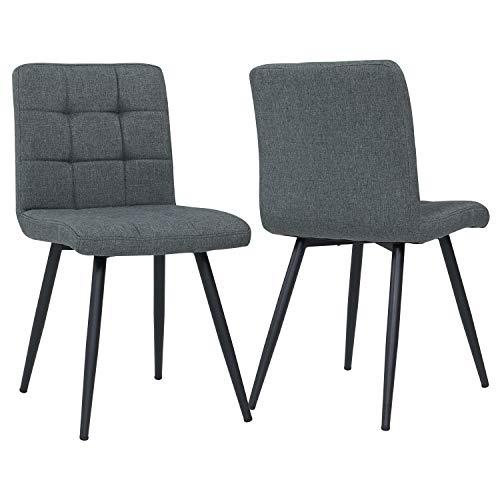 Duhome 2er Set Esszimmerstuhl aus Stoff Grau Farbauswahl Stuhl Retro Design Polsterstuhl mit Rückenlehne Metallbeine 8043B