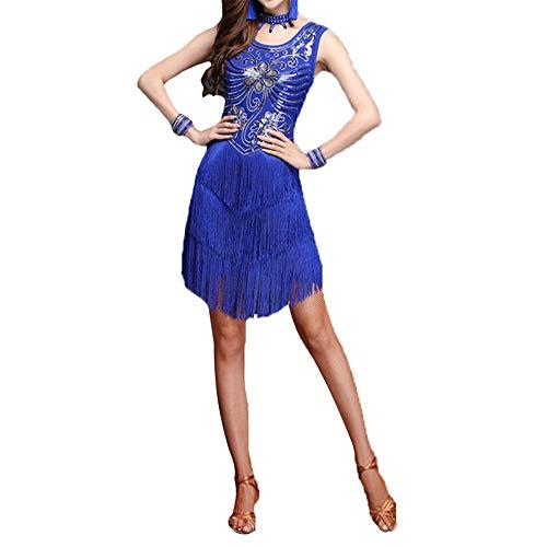 LULUVicky-WMDress Latin Dance Dress Frauen Funkelnde Pailletten verziert Fringe Flapper Latin Dance Kleid ärmellose Quaste Ballsaal Wettbewerb Dancewear Dancing Party Performance Kostüm