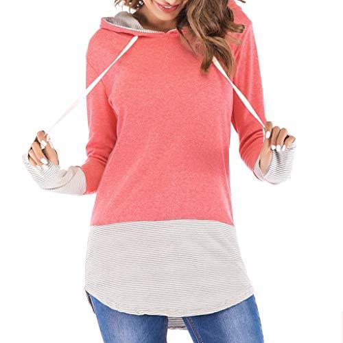 Muyise Damen Tops Größe größen Shirt Pullover Hoodie Langarm V-Ausschnitt Nähen lässig lose Oberteile Tunika Tees Sweatshirt(Rosa,XXL) (M H Versace)