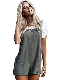 VENMO Ropa Monos mujer verano 2018,VENMO Mono casual de trabajo de bolsillo sólido Pantalones cortos para mujer
