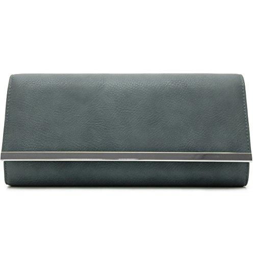 Vani Segreti © Pochette Da Sera Con Tracolla Blu-grigio Opaco
