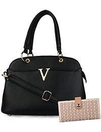 Ladies Black Color Handbag&sling Bag With Clutch Combo