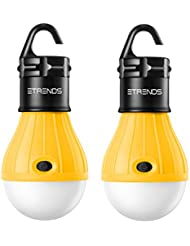 2Stück e-trends ® Portable LED Laterne Zelt Leuchtmittel für Camping Wandern Angeln Notlicht, batteriebetrieben Camping Ausrüstung Gear Gadgets Lampe für drinnen und draußen - gelb